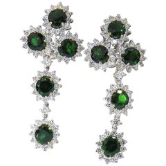 9.20ct natural vivid green tsavorite 4.18ct diamond dangle earrings 18kt