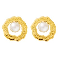 Gold Vermeil Wave Earring with Pearl