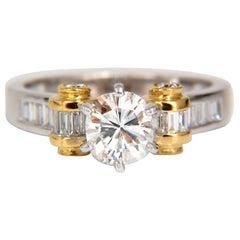 GIA Certified 2.41ct natural cushion cut baguettes diamond ring platinum E/Vs2