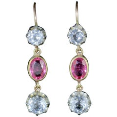 Antique Victorian Pink White Paste Stone Earrings Silver 18 Carat, circa 1900