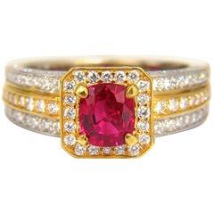 GIA Certified 2.54 Carat Vivid Red Ruby Diamonds Ring