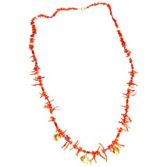 Coral, Iolith, Fish and Shell Charms in Yellow Gold 18 Karat Necklace