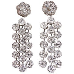 6.50ct. natural round diamonds tier floating clusters dangle earrings g.vs 18kt