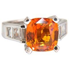GIA Certified 6.41ct natural citrus bright vivid orange sapphire diamonds ring