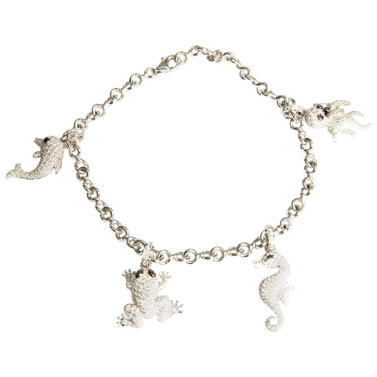 Sea Animal Charm Bracelet With Brilliants 0 06 Carat In White Gold 18 Karat For
