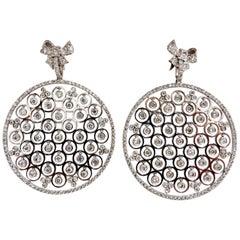 5.70 Carat Natural Diamonds Floating Grill Dangle Earrings 14 Karat Circles