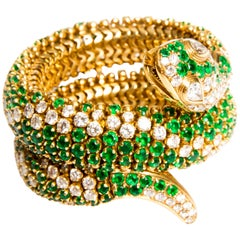 Emerald, Diamond and Yellow Gold Sea Snake Bangle Bracelet