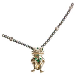 Emerald and Silver Frog Pendant on Tahitian Pearl Necklace