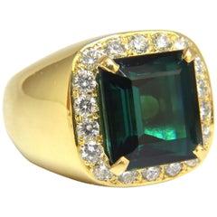 GIA Certified 13.59ct Natural Vivid Blue Green Tourmaline diamonds ring 18kt