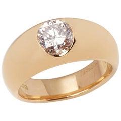 Cartier 18 Karat Yellow Gold Solitaire 1.01 Carat Diamond Dome Ring