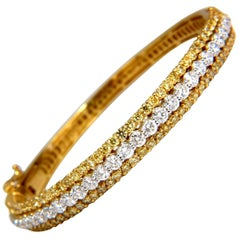 5.32 Carat Natural Round Fancy Yellow Diamonds Bangle Bracelet 14 Karat