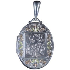 Antique Victorian Forget Me Not Locket Silver 18 Carat, circa 1880