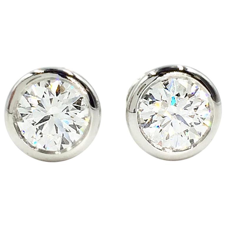 Tiffany & Co. Elsa Peretti Platinum Diamond Stud Earrings Approximate 1.50 Carat