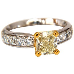 GIA Certified 2.20 Carat Cushion Cut Diamond Ring Platinum Yellow VVS-2