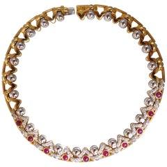9.50 Carat Natural Ruby Diamonds Link Necklace 18 Karat Crown Deco Prime