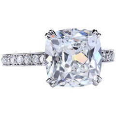 GIA Certified 6.02 Carat E/VS2 Antique Cushion Diamond Platinum Engagement Ring