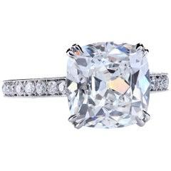 GIA Certified 6.02 Carat E/VS2 Antique Cushion Diamond Platinum Engagement Ring