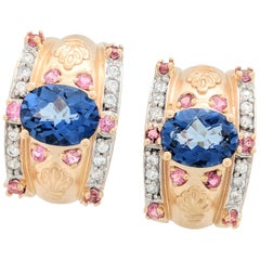 14 Karat Yellow Gold Blue and Pink Sapphire and Diamond Earrings 10.4 Grams