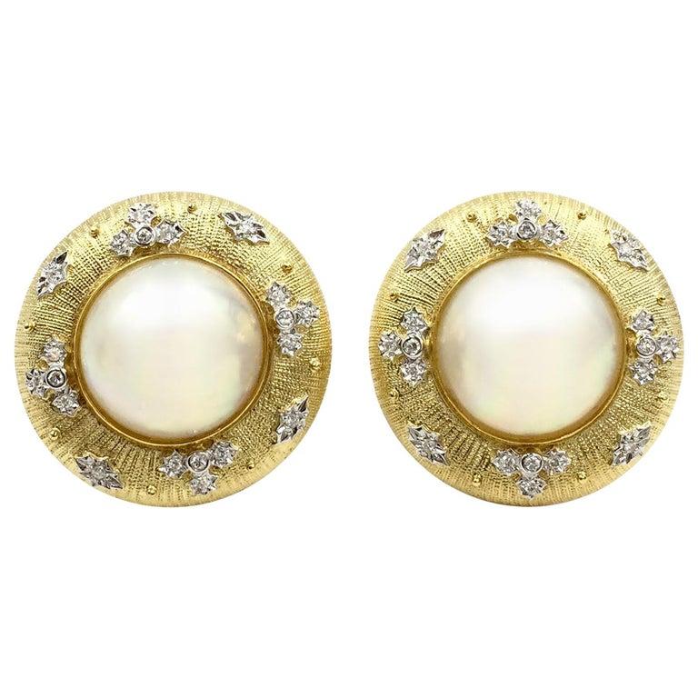 Vintage 18 Karat Gold Genuine Mabé Pearl Diamond Earrings