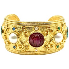 Christian Dior Vintage Costume Cuff Bracelet with Turquoise, Pearl and Carnelian