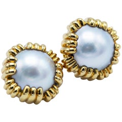 David Webb 18 Karat Gold Mabe Pearl Earclips