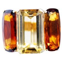 18 Karat Gold Massive Cocktail Ring with Orange and Yellow Citrine