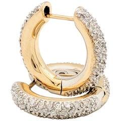 14 Karat Yellow Gold 1 Carat Pave Diamond Huggie Hoop Earrings