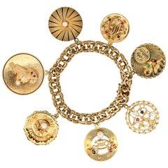 Midcentury 14 Karat Yellow Gold Disc Charm Bracelet