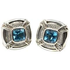 Scott Kay Blue Topaz and Diamond Earrings Sterling Silver