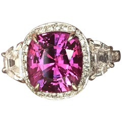 4.11 Carat Vivid Pink Sapphire No Heat, Set with Half Moons in Platinum