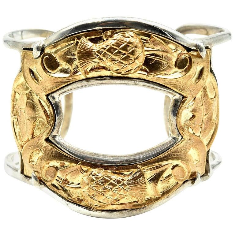 Barry Brinker Sterling Silver and Gold Vermeil Vintage Bangle Bracelet