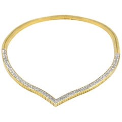 11.64 Carat Diamond Invisible Set 18 Karat Yellow Gold Necklace