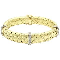 18 Karat Woven Gold Bracelet with Diamond Bars