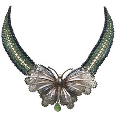 Vintage Silver Butterfly with Woven Agate, Spinel and Yellow Gold Bead Necklace