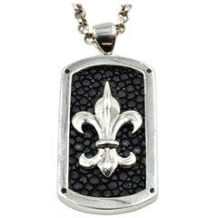 Alan K Fleur-de-Lis Dog Tag Sterling Silver Necklace
