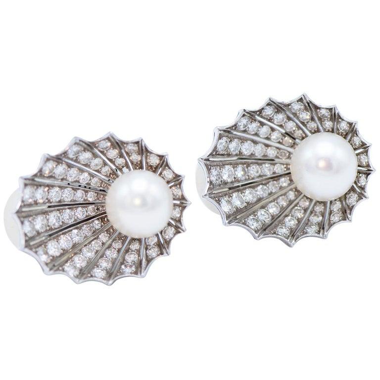 Platinum Diamond Cultured Pearl Shell Shape Earclips