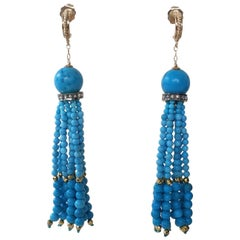Turquoise Tassel Earrings with Diamonds and Vermeil Beads with 14 Karat Gold