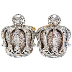 Posh Britt 3D Royal Crown 6.00 Carat Diamonds Cufflinks 18 Karat Kingship
