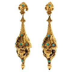 Antique Victorian American Turquoise 14 Karat Gold Repoussé Pendant Earrings