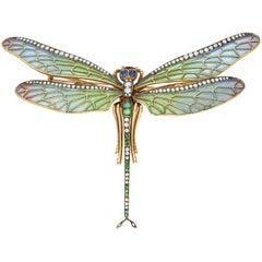 Enamel, Emerald, Sapphire and Diamond Brooch