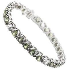 13.13 Carat Green and White Sapphire 18 Karat White Gold Tennis Bracelet
