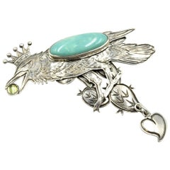 Kit Carson Sterling Silver Turquoise Raven King Pin with Cactus