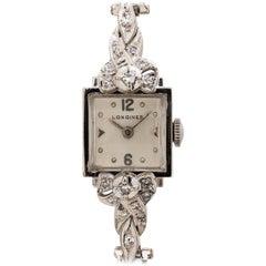 Longines White Gold Diamond manual wind Cocktail Wristwatch, circa 1951