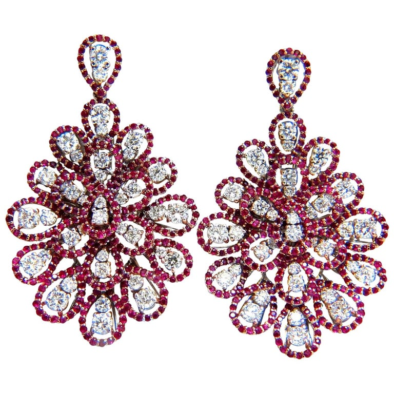 Red Diamond Chandelier Earrings: 7.76ct Natural Ruby Diamond Dangle Chandelier Cluster