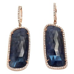 Rose Cut Sliced 44ct Blue Sapphire 0.77 Ct Diamonds 14k Gold Earrings