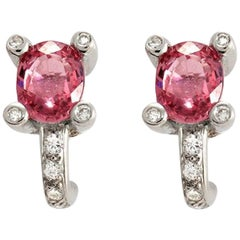 1.86 CT Natural Pink Sapphire & 0.39 CT Diamonds in 18K White Gold Stud Earrings