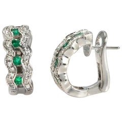 0.80 Ct Natural Emerald & 0.82 Ct Diamonds In 18k White Gold Earrings