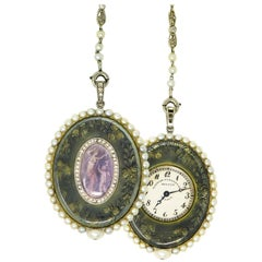 Verger Freres Paillet Platinum Diamond Enamel Pearl Necklace Pendant Watch, 1900