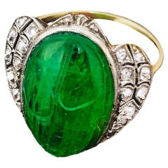1920s Art Deco 10 Carat Egyptian Revival Hand-Carved Emerald Diamond Scarab Ring
