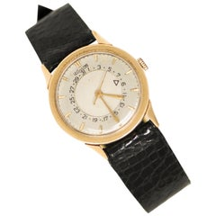 1950s Jaeger-LeCoultre 14 Karat Yellow Gold Vintage 'Disc Calendar' Wristwatch
